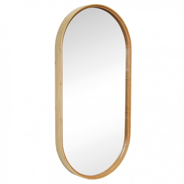 Wall Mirror Oval Bamboo Frame 95 x 48 cm