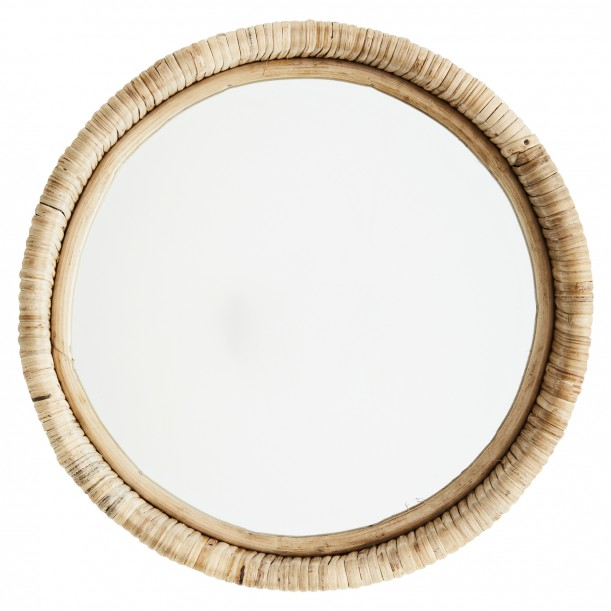 Round Miror with Bamboo Frame 27 x 8 cm