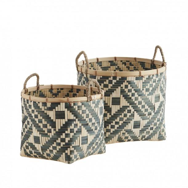 Set of 2 Bamboo Baskets Green