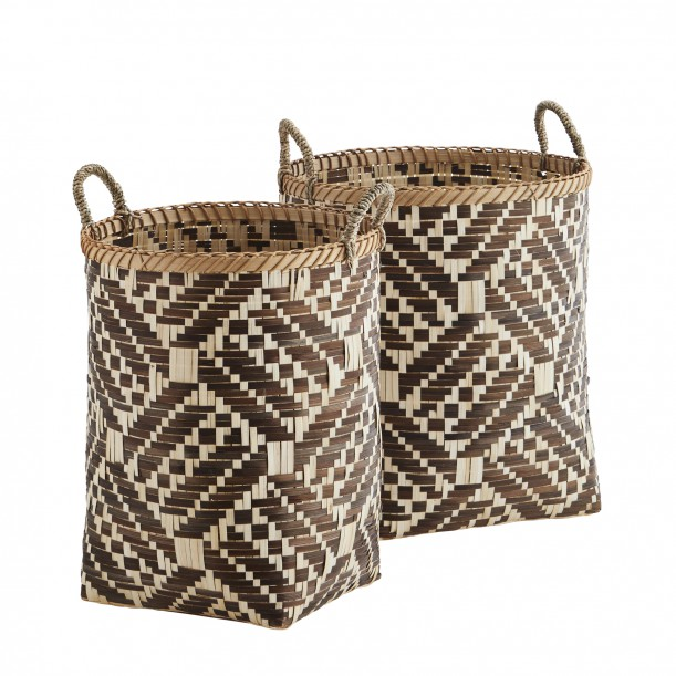 Set of 2 Bamboo Baskets Brown