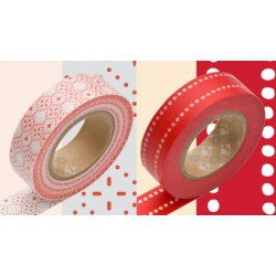 Masking Tape Deco Rouge et Blanc