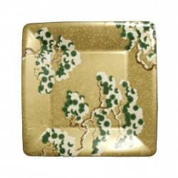 Small Cardboard Plate Gold Snowy Pine