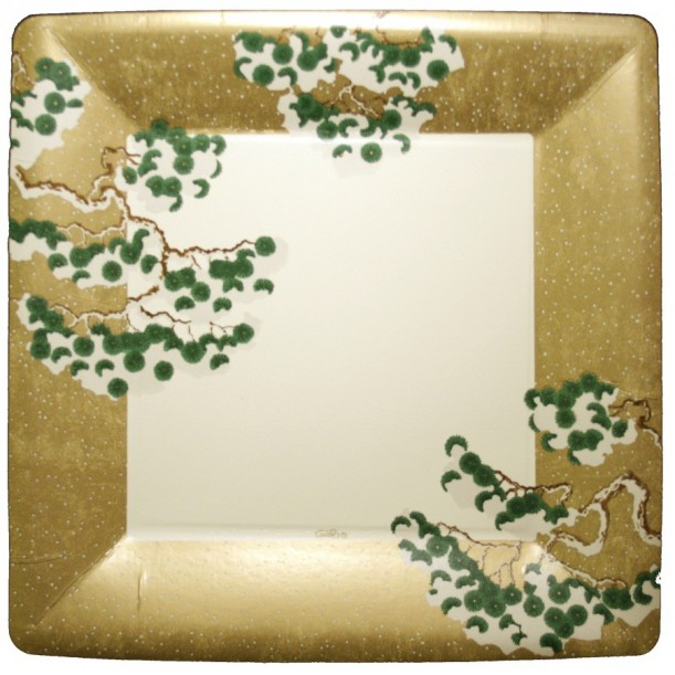 Assiette en Carton Gold Snowy Pine