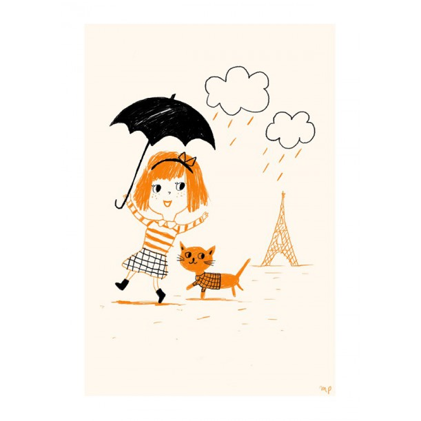 Print Paris Yellow Rain