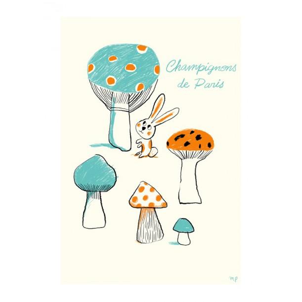 Print Petit Paris Mushrooms Blue