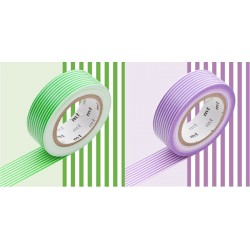2 Masking Tape Déco Rayé Vert et Violet