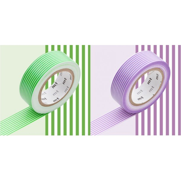 2 Masking Tape Deco Stripes Green and Purple