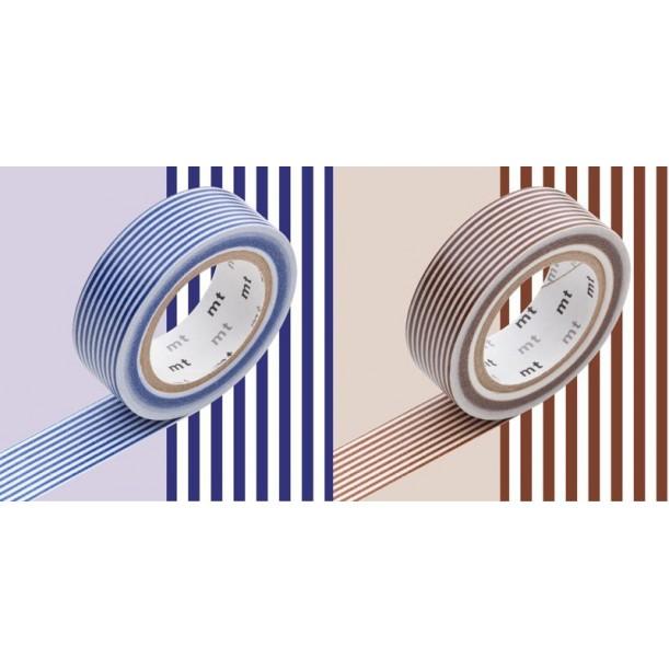2 Masking Tape Déco Rayé Bleu et Marron