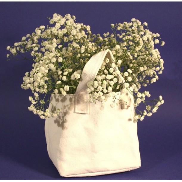 Bag Flower pot Holder Fabric Canvas White