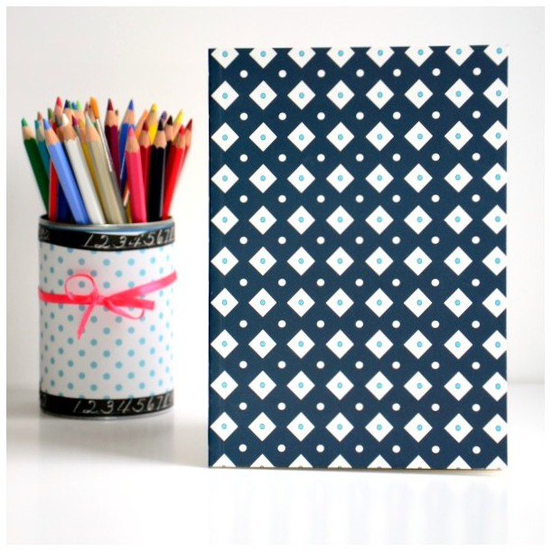 Notebook Blue and White Squares A5