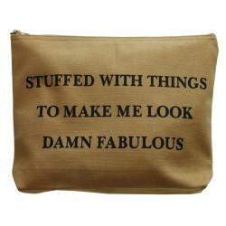 Large Cosmetic Bag Damn Fabulous Beige