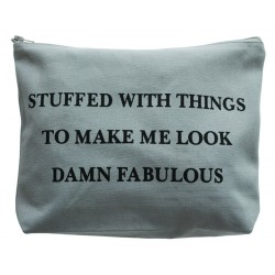 Large Cosmetic Bag Damn Fabulous Grey
