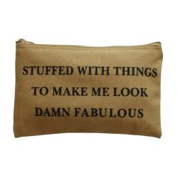 Small Cosmetic Bag Damn Fabulous Beige