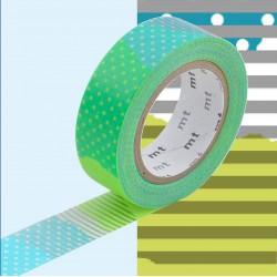 Masking Tape MT Deco Pois et Rayures Bleu et Vert Tsugihagi E