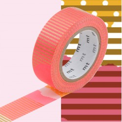 Masking Tape MT Deco Pois et Rayures Ocre et Rose Tsugihagi F