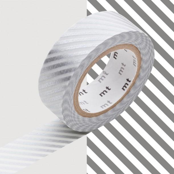 Masking Tape MT Deco Rayé Argent