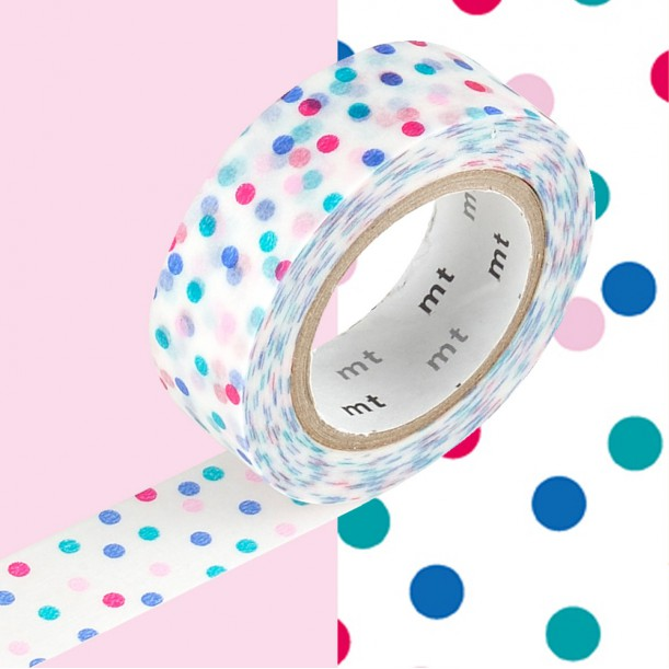 Masking Tape MT Deco Pois Multicolore Rose