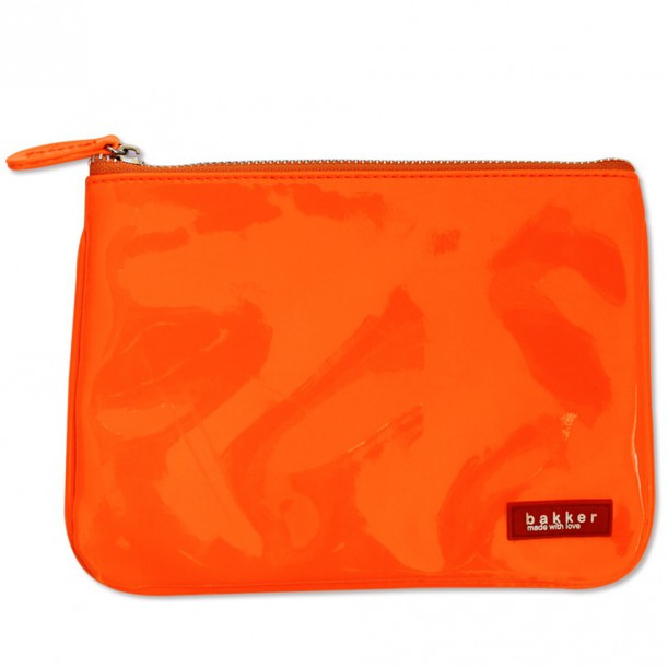 Vinyl Neon Orange Flat Pouch Bakker