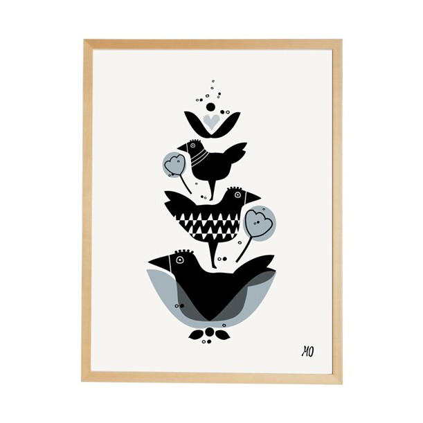 Print Three Birds going Danish
