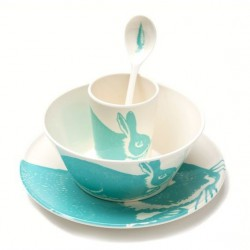 Blue Rabit Set of Bowl Plate Cup Spoon Thomas Paul