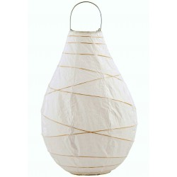 Grand Lampion Drop en Papier Blanc et Bambou House Doctor