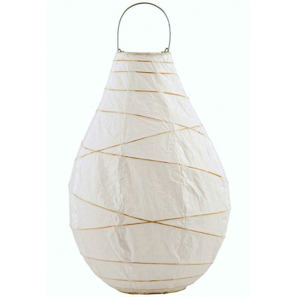 Grand Lampion Drop en Papier Blanc et Bambou House Doctor