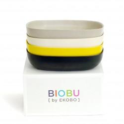Set de 4 Assiettes Creuses Noire Stone Blanche Lemon Gusto Biobu by Ekobo