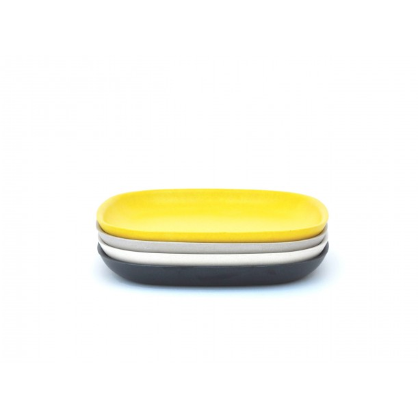 Set de 4 Petites Assiettes Noire Stone Blanche Lemon Gusto Biobu by Ekobo