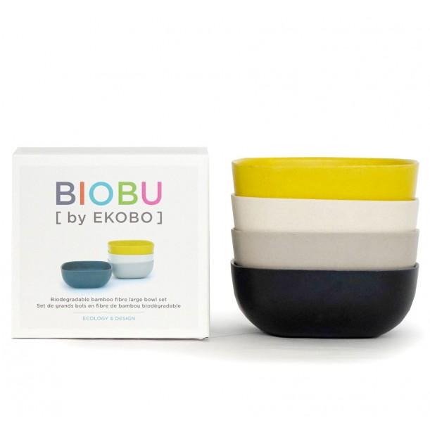 Set of 4 Large Bowls Black Stone White Lemon Biobu Gusto by Ekobo