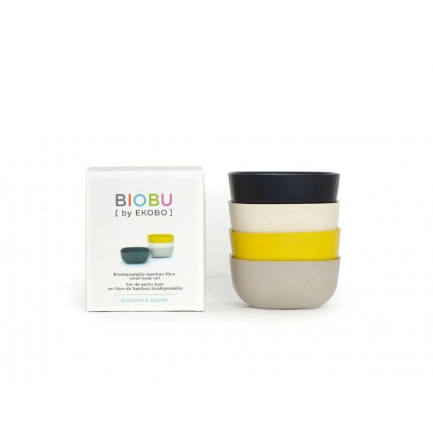Set of 4 Small Bowls Black Stone White Lemon Biobu Gusto by Ekobo
