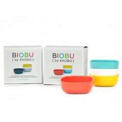 Set of 4 Small Bowls Persimmon White Lagoon Lemon Biobu Gusto by Ekobo