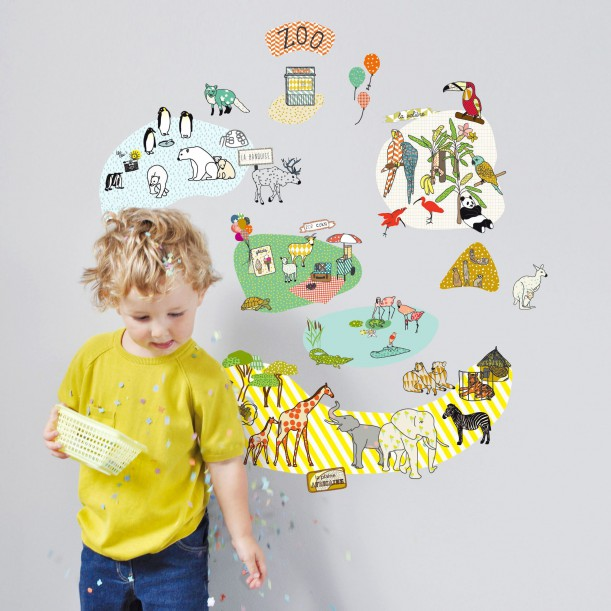 Sticker Mural Zoo Mimilou