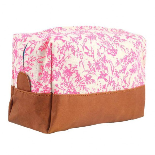 Toilet Bag Jouy Rose Printed Canvas and Leather Bakker