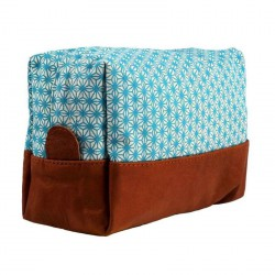 Toilet Bag X Turquoise Printed Canvas and Leather Bakker