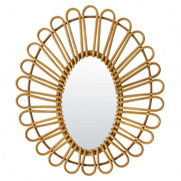 Rattan Vintage Mirror Oval Bakker