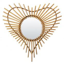 Rattan Vintage Mirror Heart Bakker