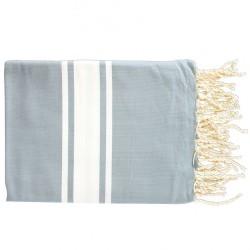 Fouta Flat Weaving Gris Bleu