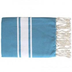 Fouta Tissage Plat Bleu Grec