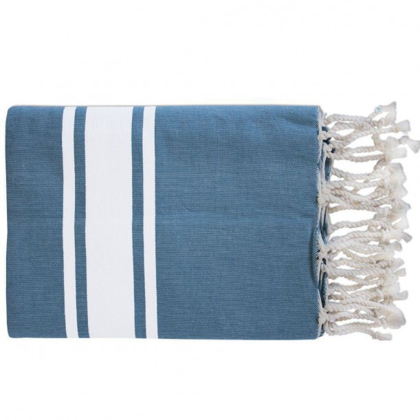 Fouta Tissage Plat Bleu Seven