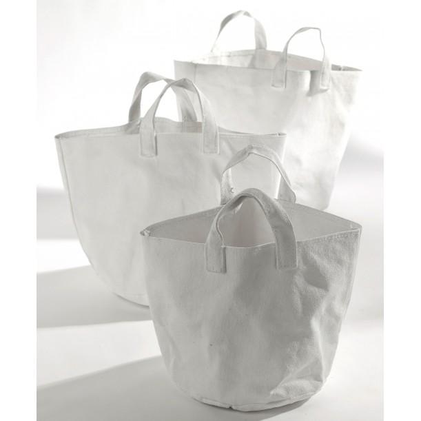 Set of 3 White Canvas Round Baskets Marie Serax