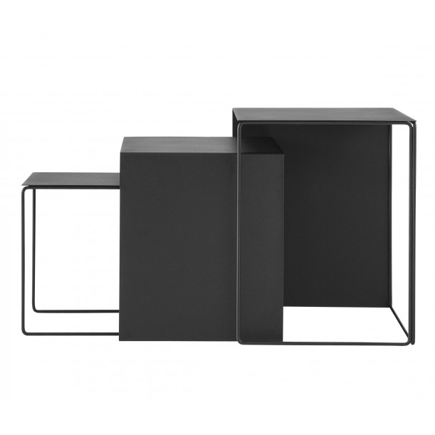 3 Tables Basses Noires Cluster Gigognes Ferm Living