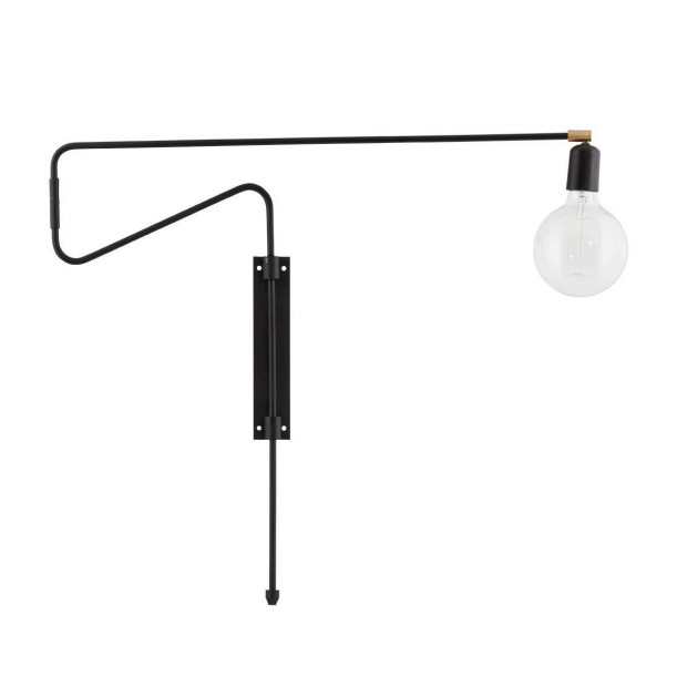 Wall Lamp Black Swing Large pivot arm House Doctor