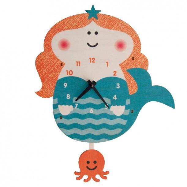 Horloge Murale à Balancier Sirène pour Enfants Modern Moose